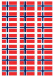 Norway Flag Stickers - 21 per sheet